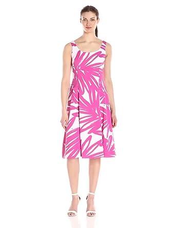 Donna Morgan Women's Sleeveless Printed Palm Print Midi Dress, Enamel/Flux, 0
