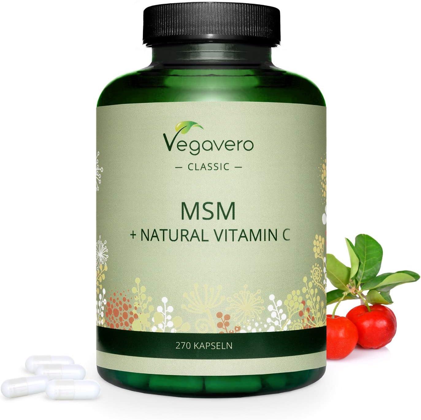 MSM + Vitamina C Natural Vegavero® | 2100 mg | 270 Cápsulas | SIN ADITIVOS | Articulaciones + Cabello & Piel | Vitaminas Para el Cabello | Vegano