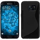 PhoneNatic Case für Samsung Galaxy S7 Hülle Silikon schwarz S-Style Cover Galaxy S7 Tasche + 2 Schutzfolien