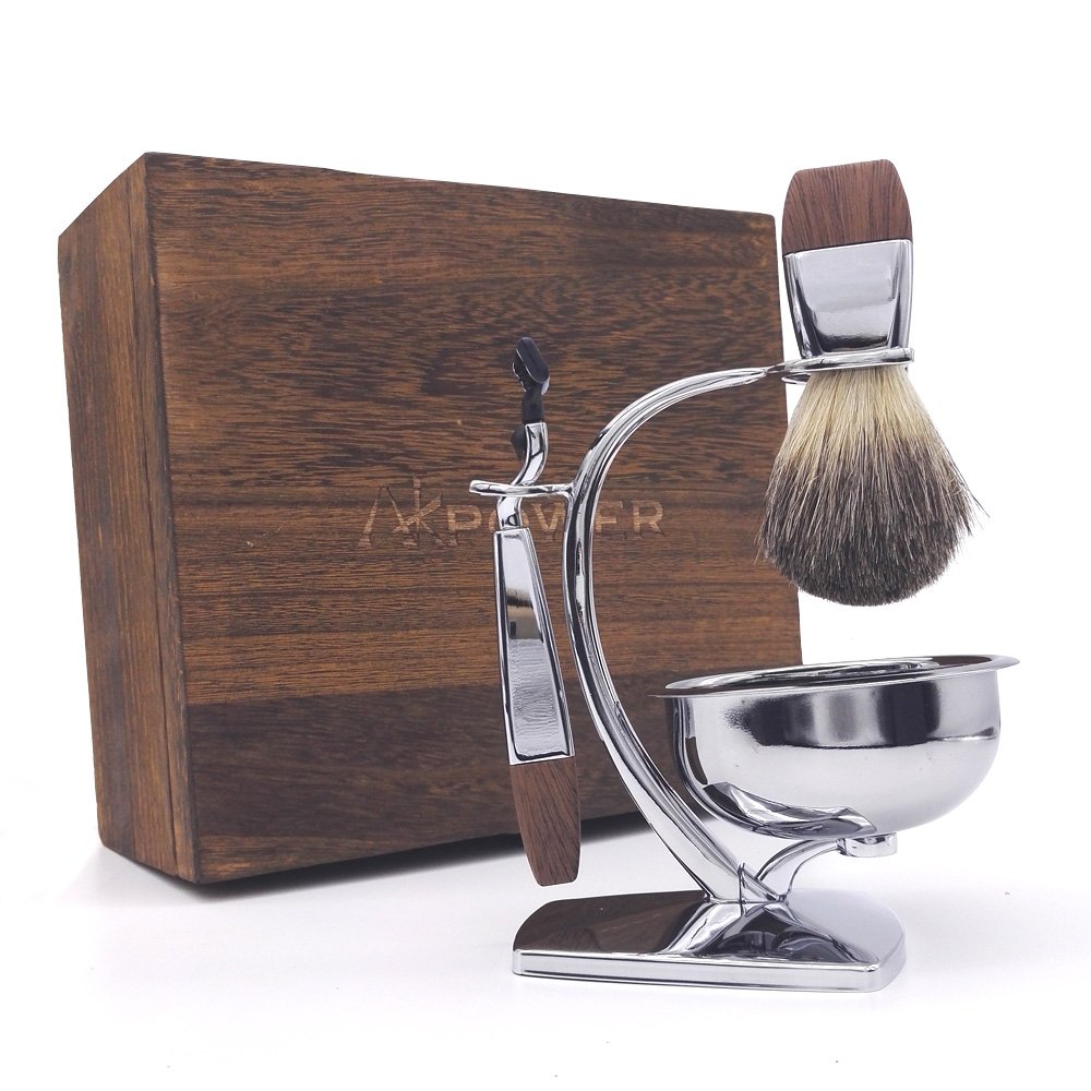 AKPOWER Shaving Set for Men, Badger Brush, Bowl, Stand and Cartridge Razor