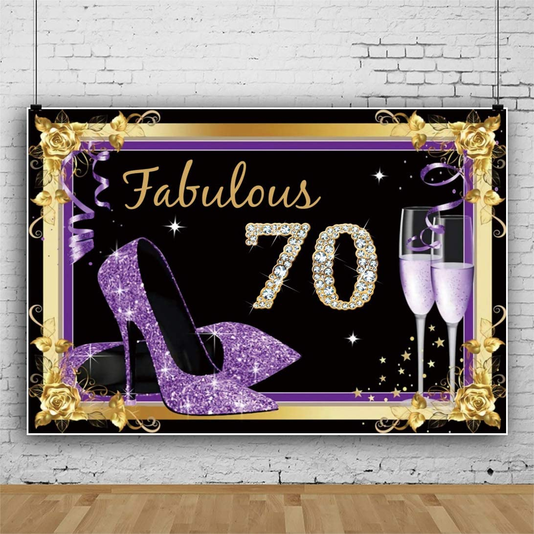 YEELE Purple 70th Birthday Backdrop for Woman 10x8ft Fabulous Seventy Years Old Diamond Style Photography Background Lady Woman Birthday 50 Anniversary Photos Photobooth Prop Digital Wallpaper