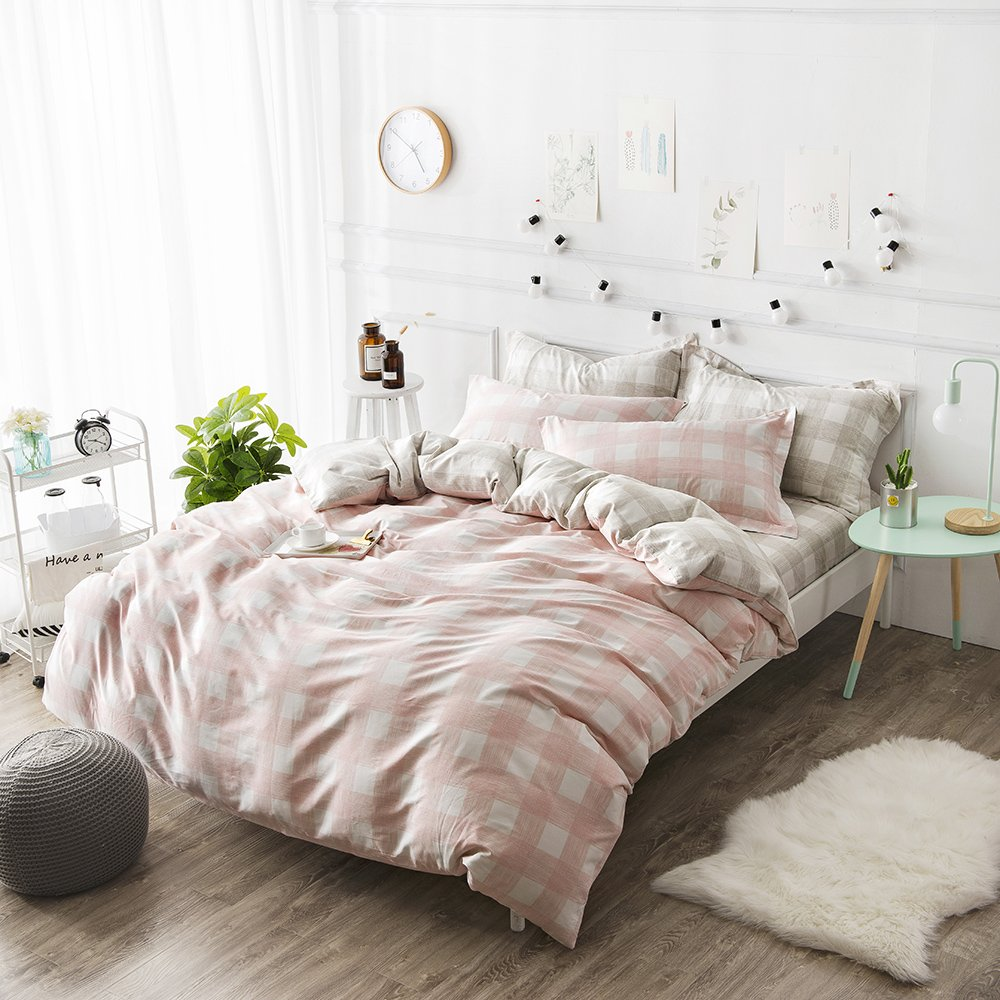 orusa pink kids girls bedding sets twin for teen white grey gingham plaid twin ebay. Black Bedroom Furniture Sets. Home Design Ideas