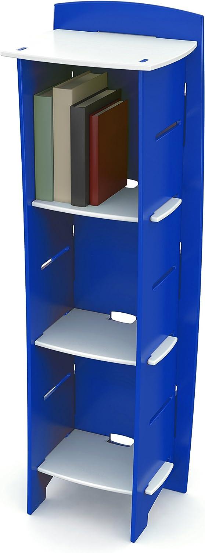 Legaré Furniture Children's Furniture 3-Tier Shelf Bookcase, Storage Organizer with Adjustable Shelves for Kids Bedroom, Blue and White