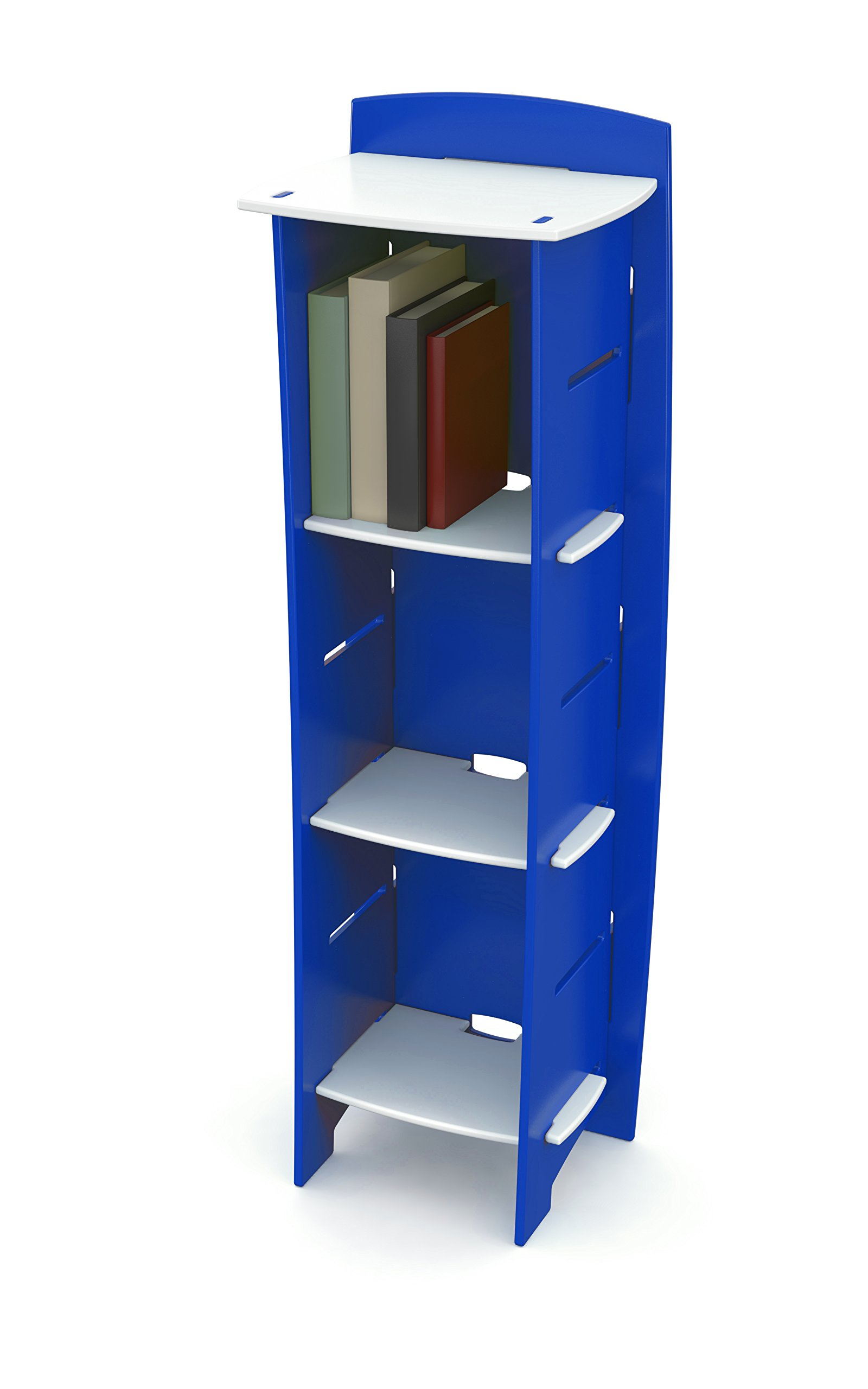 Legaré Kids Furniture Race Car Series Collection, No Tools Assembly 3-Shelf Bookcase, Blue and White