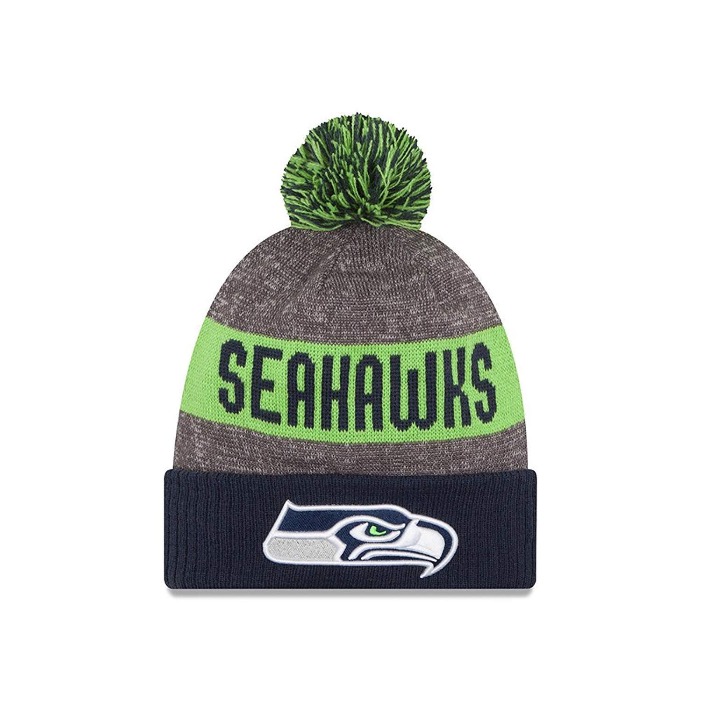 641e73061b161 Amazon.com   New Era Knit Seattle Seahawks Biggest Fan Redux Sport Knit  Winter Stocking Beanie Pom Hat Cap NFL   Sports   Outdoors