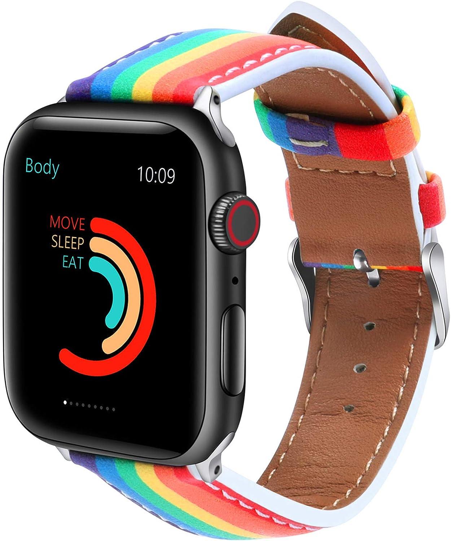Fun Gaau Leather Rainbow Compatible Apple Watch Band Lgbt Pride Band Compatible iwatch band Series 6/5/4/3/2/1 SE