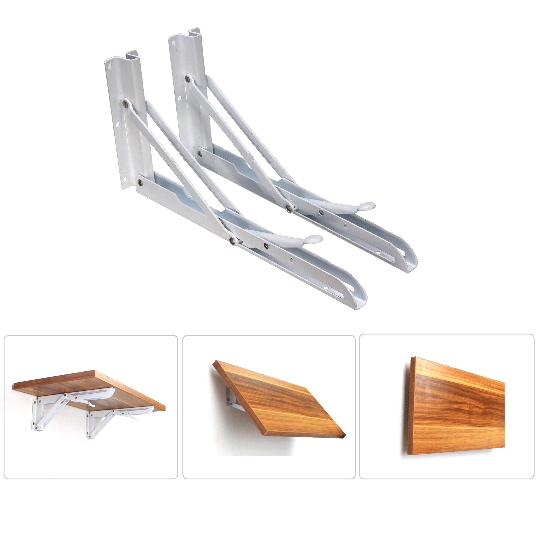 Farmunion 2pcs White Metal Triangle Folding Shelf Bracket Support Wall Bracket