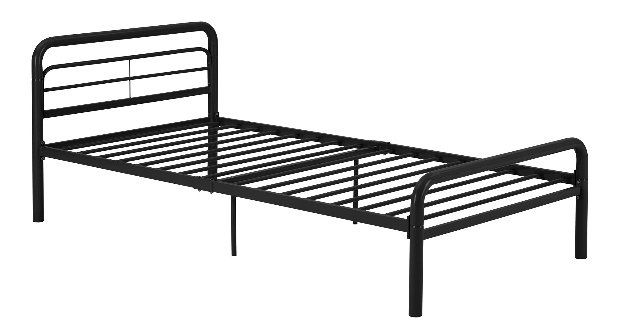 DHP Metal Bed with Round Tubing, Modern and Simple Design, Twin, Black