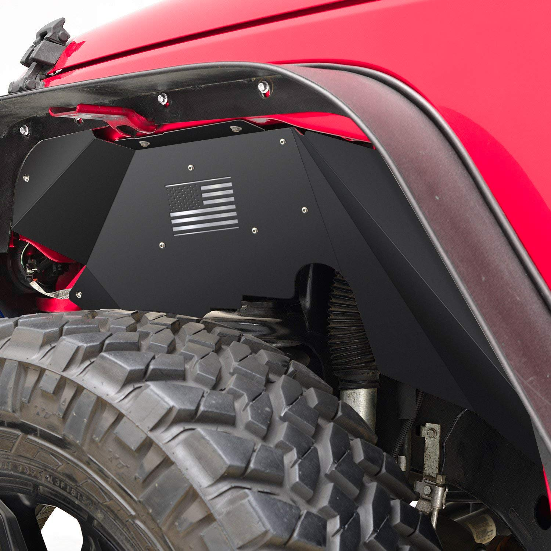 Black E-cowlboy Front/&Rear Inner Fender Flares Liners for Jeep Wrangler JL 2018~2019 Aluminum US Logo