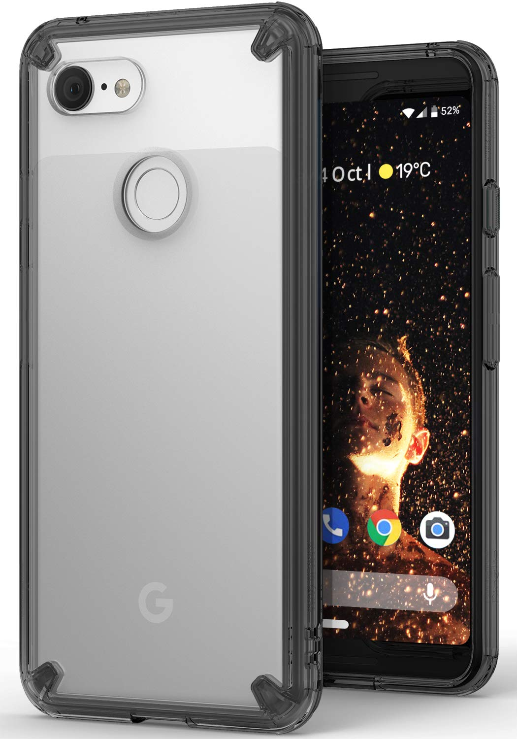 Ringke [Fusion] Compatible with Pixel 3 Case, Clear Transparent PC Back TPU Bumper [Drop Defense] Raised Bezels Scratch Protection Natural Form Cover for Google Pixel 3 - Smoke Black RFS-GPX3-SB