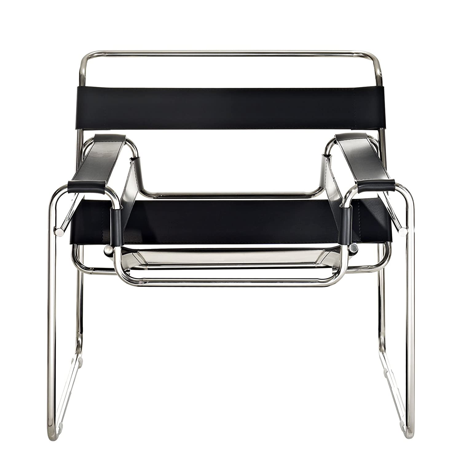 Amazon Modway Premium Wassily Style Chair in Black Leather