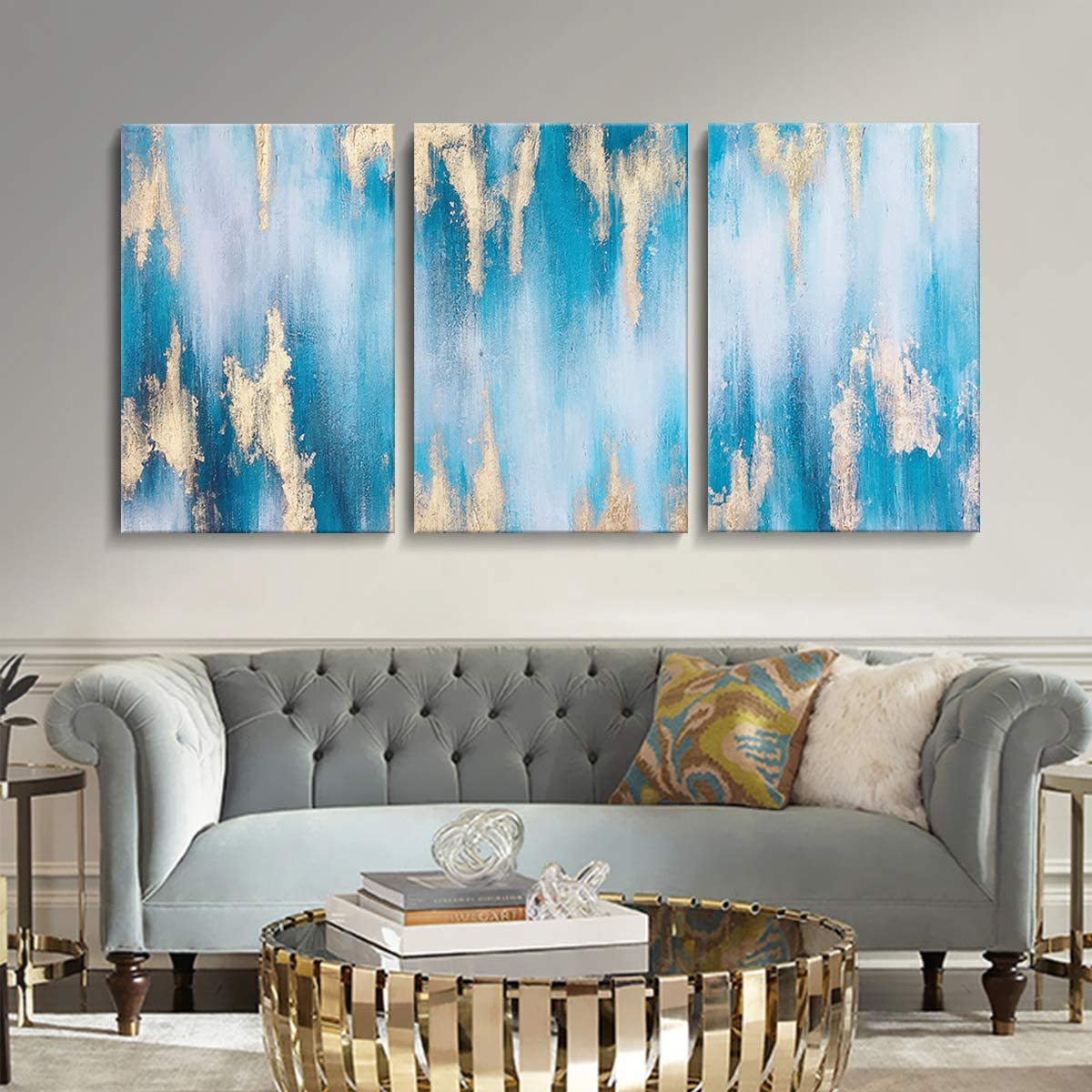 SDYA Hand Painted Large Blue Abstract Gold-Lined Oil Paintings Wall Art Canvas Art 24inches by 36inches X 3PCS Framed and Stretched 3 Panels
