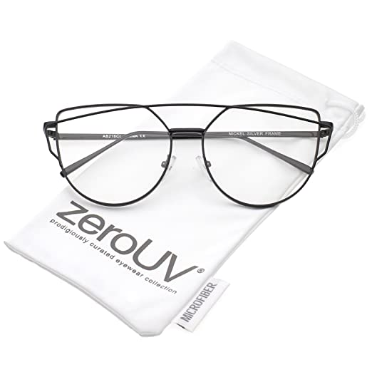 382cb1246fb6 zeroUV - Modern Slim Metal Frame Crossbar Clear Flat Lens Aviator Eyeglasses  55mm (Black