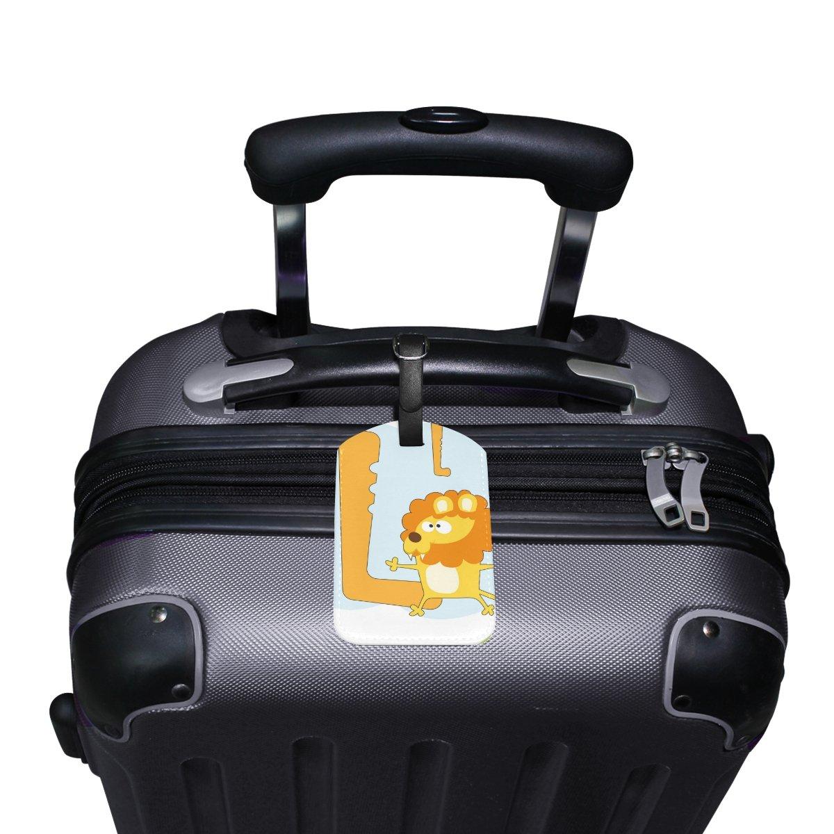 Saobao Travel Luggage Tag Funny Cute Lion PU Leather Baggage Travel ID