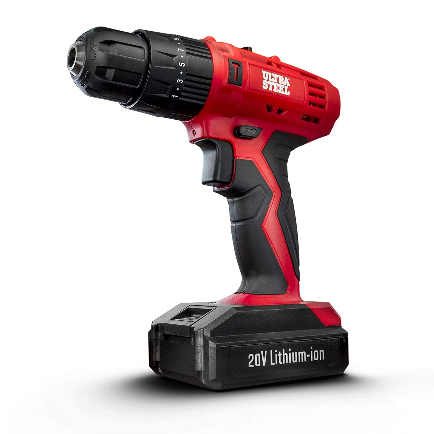 ULTRA STEEL 20V 1.3Ah Lithium-Ion 3 8 Cordless Hammer Drill Driver, 2-Speed, Adjustable Impact Function, 21 1 Position, LED Light, Keyless Chuck, 1-Year Warranty, Battery w Charger Included AQ75024G