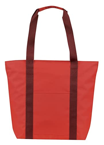 Large Over the Shoulder Tote with Zipper (Red/Burgundy): Handbags ...