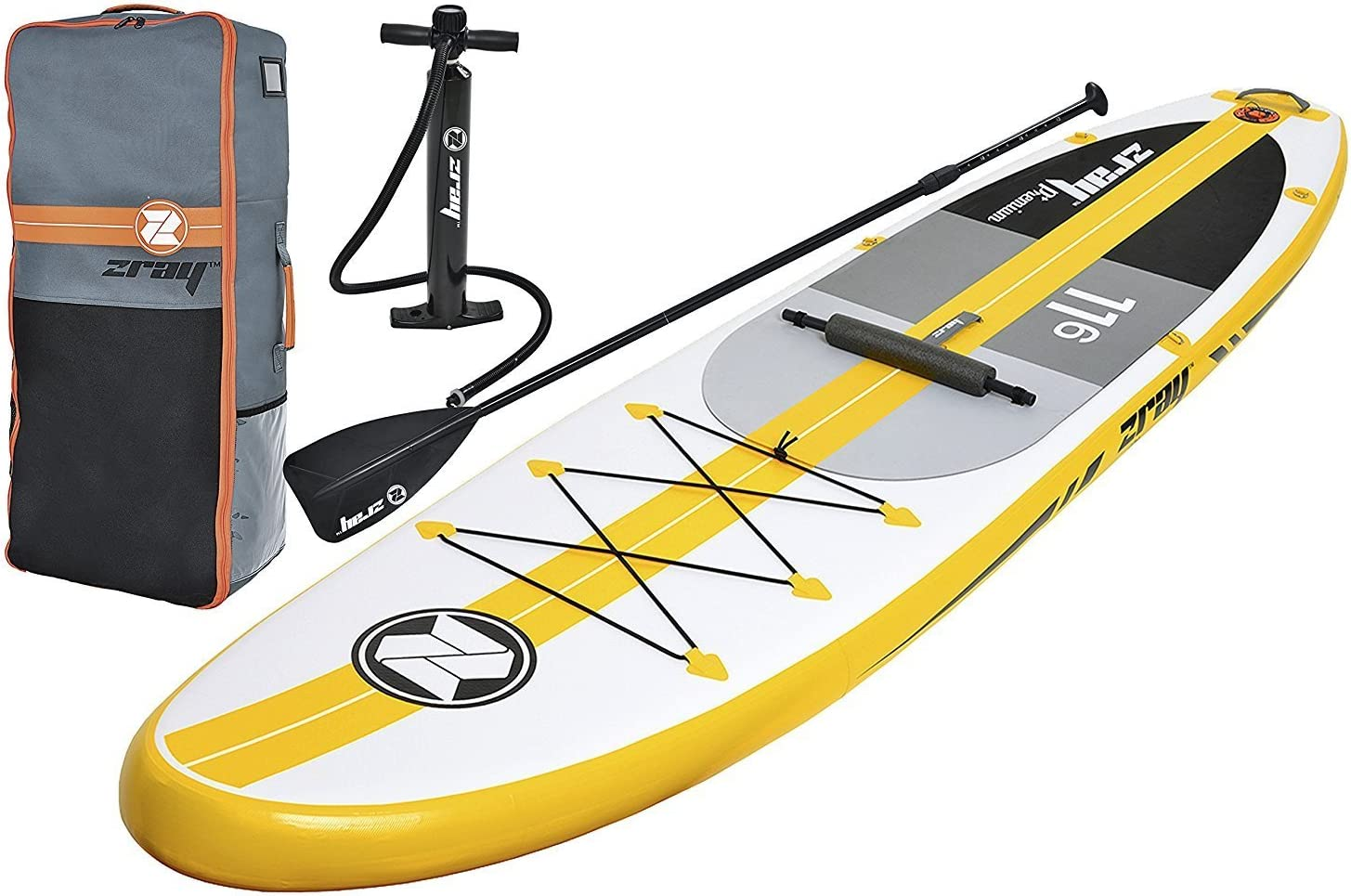 Z-Ray A4 11 6 Touring SUP Stand Up Paddle Board Package w Pump, Paddle, Footrest and Travel Backpack, 6 Thick