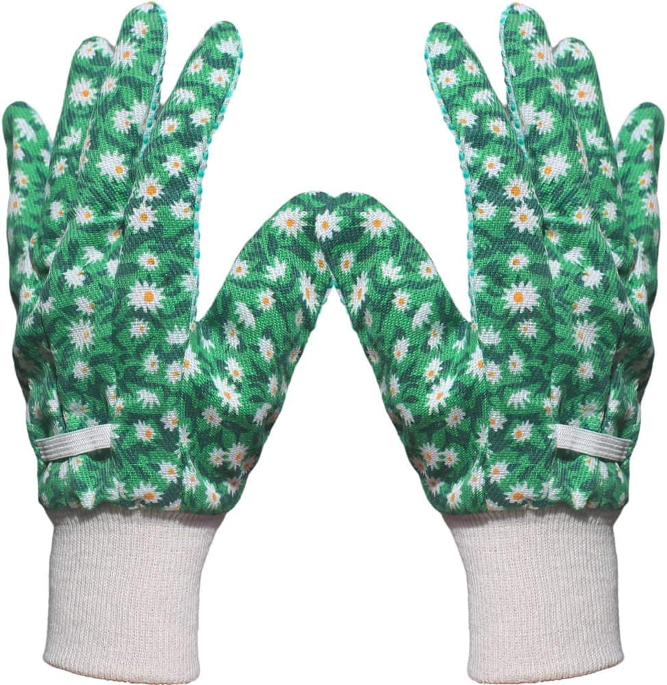 Hymnorq 9 Inch Garden Gloves for Women,Breathable Thin Cotton Fabric Soft Jersey with Non-skid PVC Dots and Well-fitted Knit Wrist, 6 Pairs Pack, Ideal for Yard Gardening Work Protection