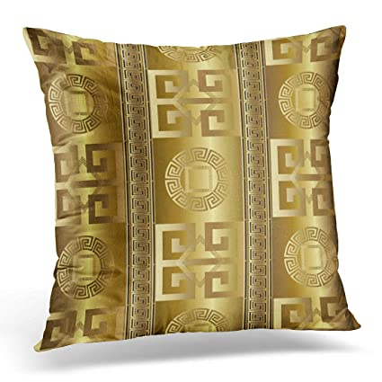 Emvency Throw Pillow Covers Case Versace Modern Abstract Geometric With Antique Gold 3d Vintage Greek Key Squares Circles Rhombus Greece Decorative