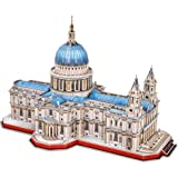 CubicFun 3D Brain Teaser Puzzles for Adults Large Challenge Britain Architecture Church Building Model Craft Kits Birthday Gi