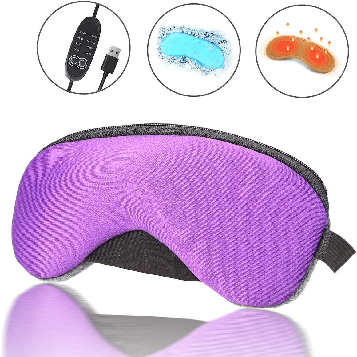 Portable Cold and Hot USB Heated Steam Eye Mask + Reusable Ice Gels for Sleeping, Eye Puffiness, Dry Eye, Tired Eyes, and Eye Bag with Time and Temperature Control, Best Father's Day Gift