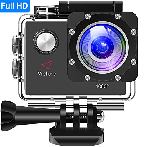 Victure Action Camera 12MP Full HD 1080P Waterproof Action Cam 30M Diving Underwater Camera with 26 Mounting Accessories, 170 Degree Wide Angle, IP68 Waterproof Case and 1050mAh Rechargeable