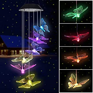 BINWO Color Changing Solar Power Wind Chimes,Wind Mobile Portable Waterproof Outdoor Wind Chime Decorative Romantic Wind Bell LightDécor for Garden, Yard, Patio, Home, Gifts for Mom Butterfly