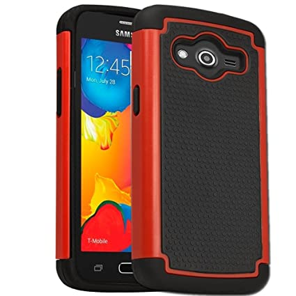 best authentic f3763 4ed49 Samsung Galaxy Core LTE SM-G386W Rugged Impact Heavy Duty Dual Layer Shock  Proof Case Cover Skin From theMobileArea - Red