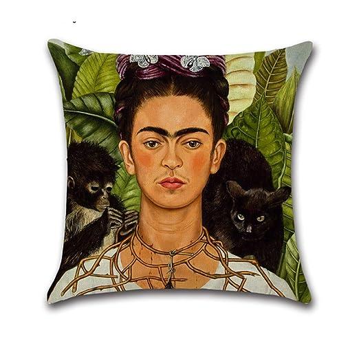 Amazon.com: SSTQSAA Frida Kahlo - Funda de almohada de lino ...