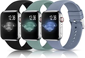Sport Bands Compatible with Apple Watch Band 38mm 40mm 42mm 44mm,Soft Silicone Replacement Wristbands Straps for iWatch Series 1/2/3/4/5 Women Men(T,Black,Lavender Grey,Cactus)