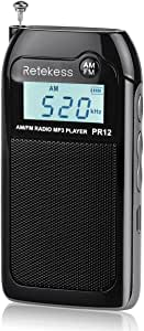 Retekess PR12 Pocket Radio AM FM Radio Mini Rechargeable with MP3 Player Support TF CardMusic Player Speaker Digital Radio Personal Transistorfor Walking Cycling(Black)