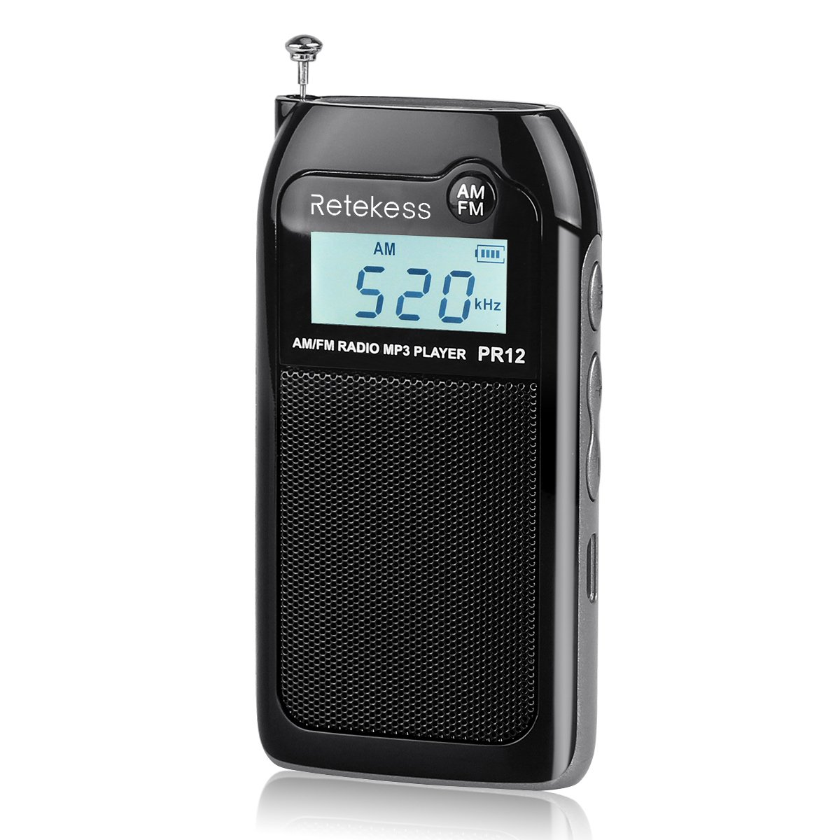 Retekess PR12 Portable AM FM Radio Mini Transistor DSP Digital MP3 Music Player Support TF Card with Rechargeable Battery for Walking Jogging Gym Camping(Black)