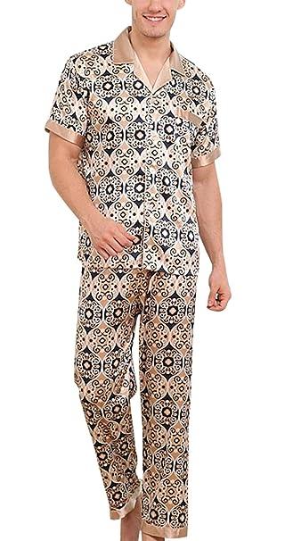 Yanqinger - Hombre Seda Pijamas de 2 Piezas con Mangas Corta Verano Elegante Clásico Respirable Estampado