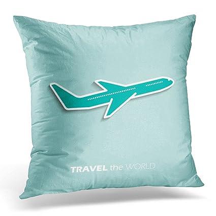 Amazon Emvency Throw Pillow Covers Aeroplane Travel The World New Airplane Decorative Pillow