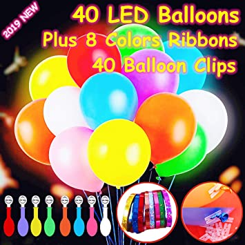 Amazon.com: Paquete de 40 globos con luz LED, colores ...