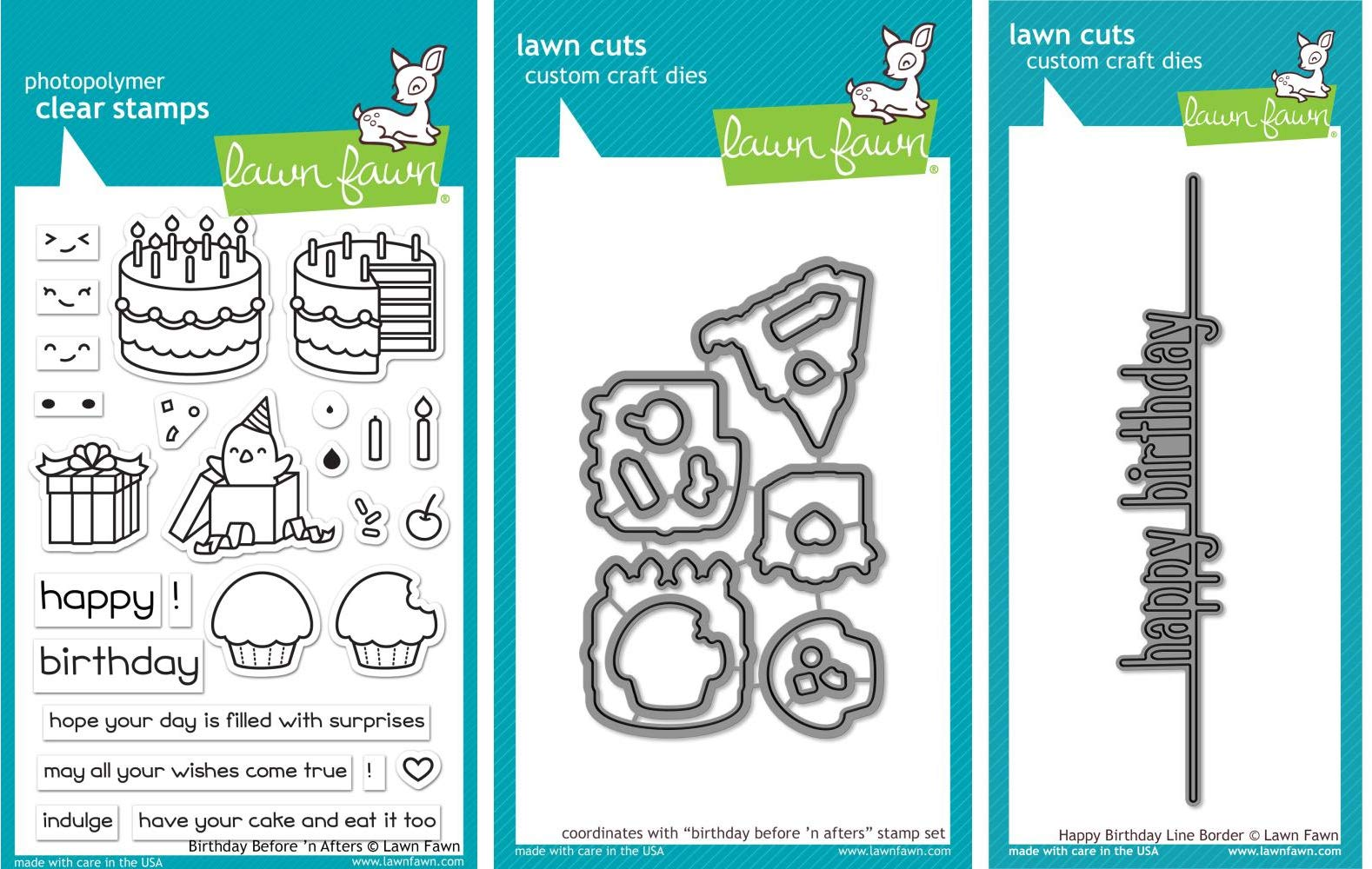 Lawn Fawn - Birthday Changer Bundle - Birthday Before 'n After Clear Stamp and Die Sets with Happy Birthday Line Border Die - 3 Items