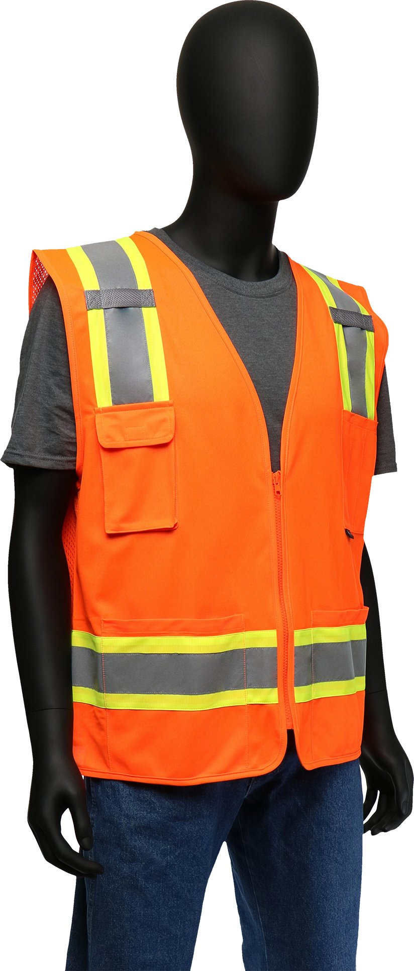 West Chester 47216 Class 2 High Visibility Surveyor Safety Vest Two Tone: Orange, XX-Large