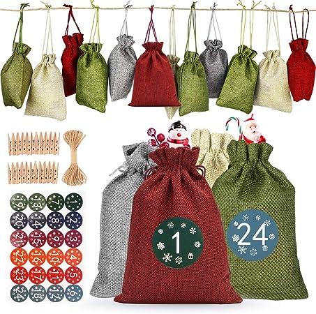CICADAS 24 Calendario Dellavvento Calendario dellAvvento 2019 per Il Calendario Natalizio Fai-da-Te Sacchetti di Tessuto Calendario dell/'avvento,Sacchetto Regalo di Natale