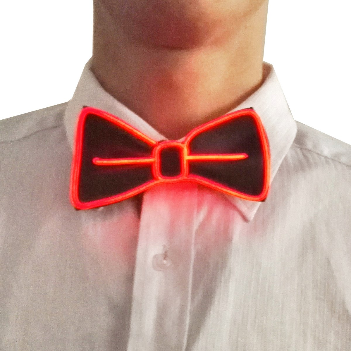 Suncentech Luminous Bow Tie Adjustable Light Up Bow Tie with Switch Controller, One Size, EL Cold Light, Novelty Dancing Party Décor (Blue)