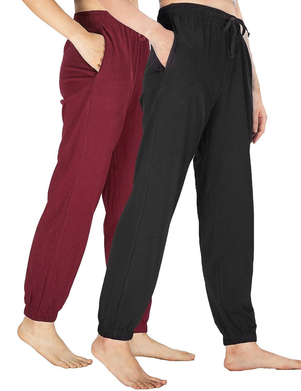 WEWINK CUKOO Damen Baumwolle Pyjamahosen Schlafanzughose Pant Jogginghosen Nachtw/äsche Kn/öchell/änge Hosen mit Taschen
