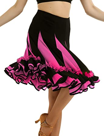 ranrann Falda de Baile Flamenco para Mujer Falda de Danza ...