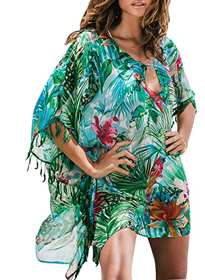 55f151ed79 Asvivid Womens Bohemian Leaf Floral Printed Fringed Kaftan Chiffon Tassel  Oversized Beach Tunic Dress Bikini Cover