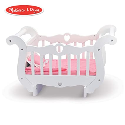Amazon Com Melissa Doug White Wooden Doll Crib With Bedding 30 X