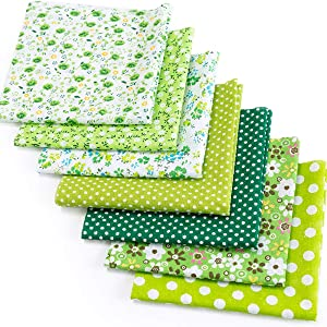 YOLUFER DIY Cotton Fabric Bundle 19.7 x 19.7 Inches, 7PCS Different Pattern, Squares Patchwork Material for Sewing Quilting Scrapbooking. (Green)