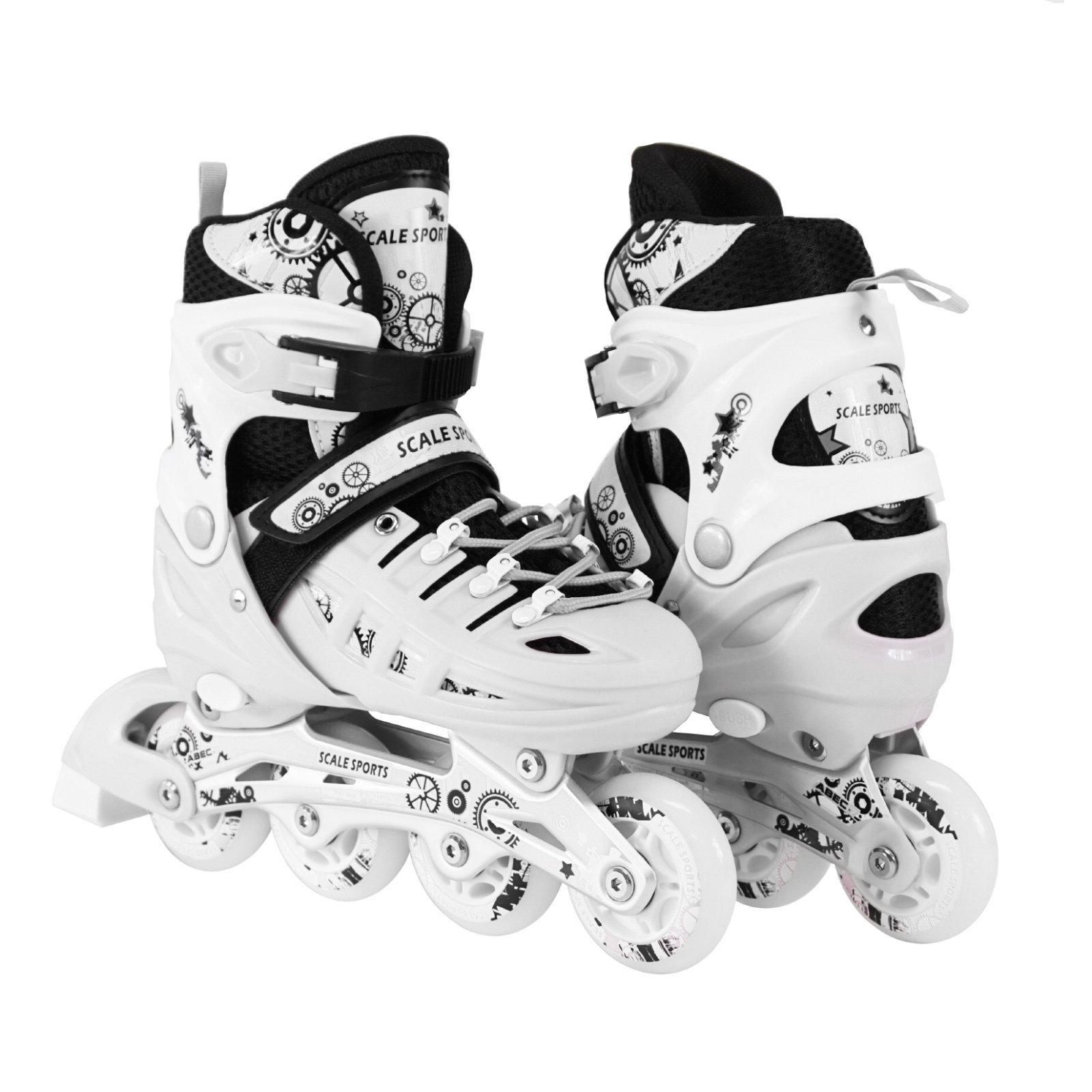 Kids Adjustable Inline Roller Blade Skates Scale Sports White Medium Sizes Safe Durable Outdoor Featuring Illuminating Front Wheels 905