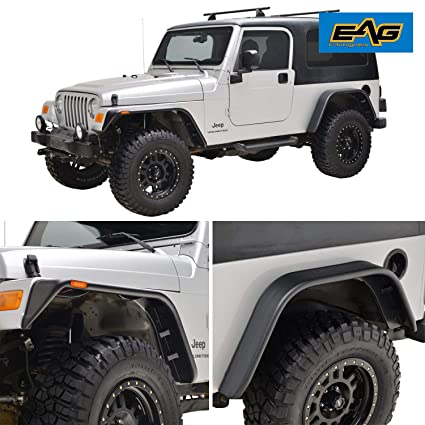 Flat Fender Jeep >> Amazon Com Eag Front Rear Fender Flares With Side Led Lights Flat