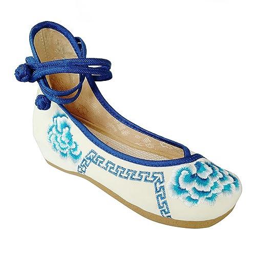 Estilo de moda de zapatos de mujer chino Casual Flats Zapatos para Caminar Zapatillas de gamuza zapatos para bailar, color Azul, talla 38 EU: Amazon.es: ...