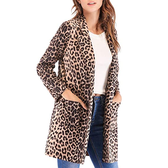 Posional Mujer Moda Leopard Leopard Print Coat G Chaqueta De Punto ...