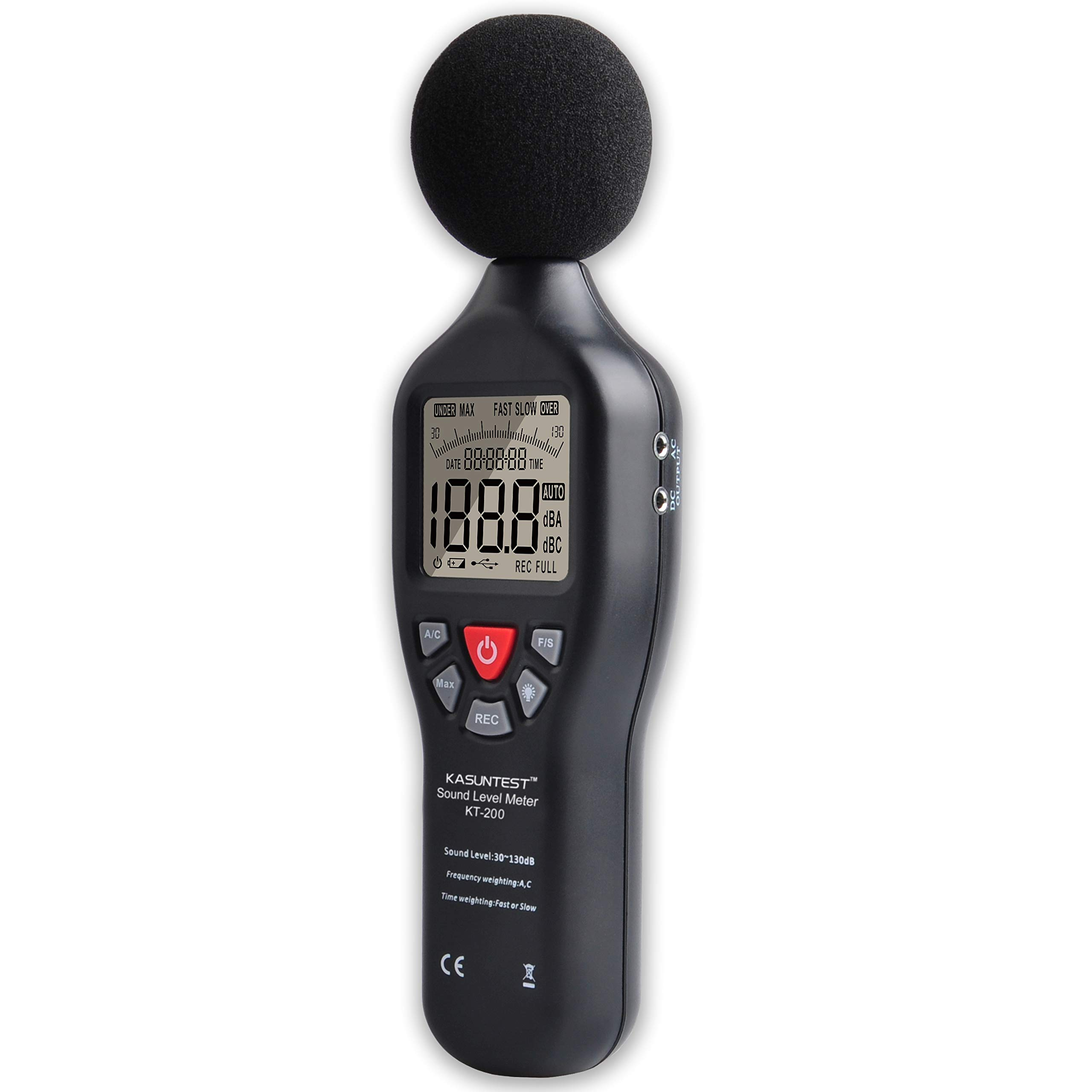 KASUNTEST Professional Sound Level Meter Digital Noise Tester with Data Logger Function Range:30 to 130dB with Large LCD Display and Backlit by K KASUNTEST