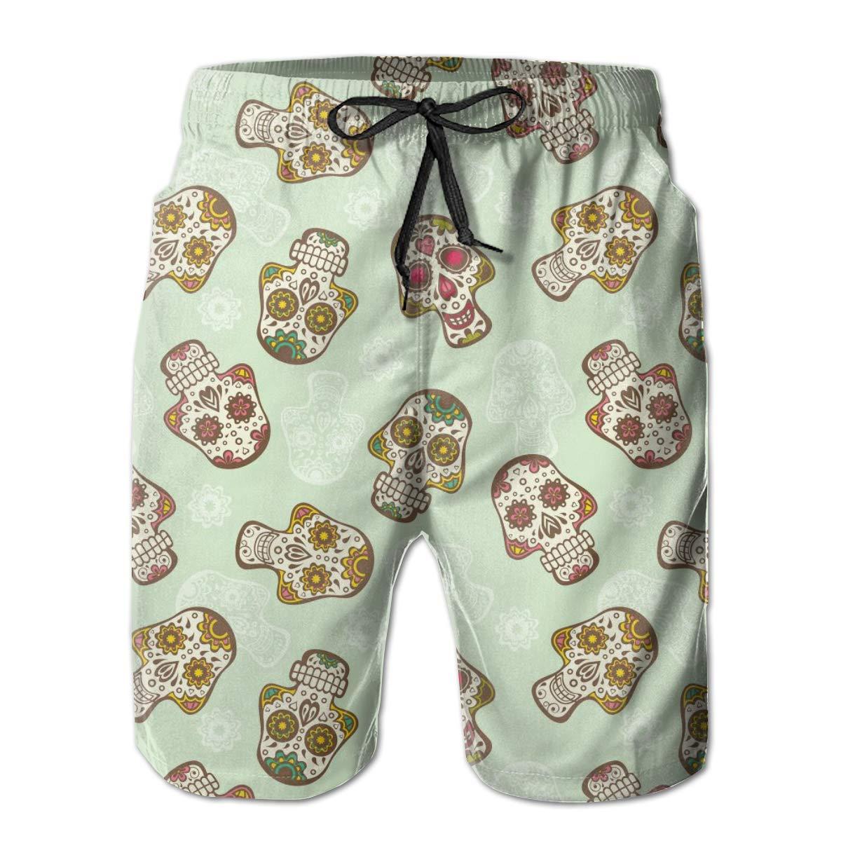 HZamora/_H Mens Skull Seamless Pattern Summer Breathable Quick-Drying Swim Trunks Beach Shorts Cargo Shorts